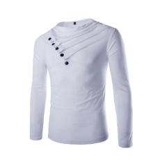 Men's Fashion Casual Heap Collar Long-sleeved T-shirt White
