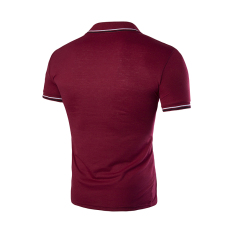 Men's Fashion Casual Short-sleeved T-shirt Embroidered Sport POLO Shirt Korean Version Wine Red (Intl)