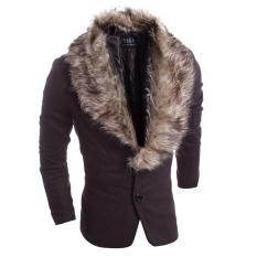 Men's Fashion Casual Slim Fur Collar Thickening Woolen Suit Coffee (Intl)