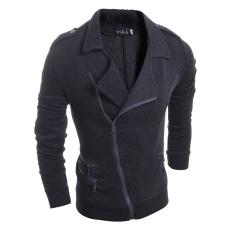 Men's Fashion Casual Slim Lapel Sports Sweater Jacket Dark Grey (Intl)