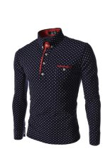 Mens Fashion Casual Slim Polka Dot Long Sleeve Turn-down Collar T-shirt Top Navy