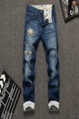 Men's Fashion Style Fashion Printing Jeans (Blue) (Intl)