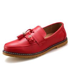Men's Flat Shoes Casual Loafers (Red)