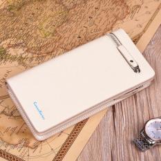 Men's Genuine Leather Retro Clutch Wristlet Handbag Zip-Around Cellphone Wallet (White) - Intl