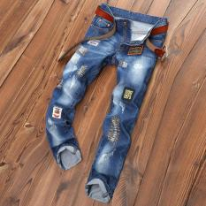 Men's Hole Jeans Straight Ripped Jeans Embroidery Patch Pants Male Denim Pants Trousers - Intl