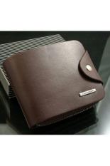 Mens Leather ID Card Holder Billfold Zip Purse Wallet Handbag Clutch Coffee