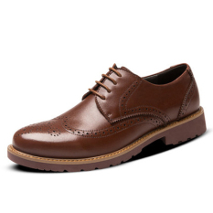 Men's Leather Shoes Business Casual British Style Shoes Lace Up Loafers (Brown) (Intl)