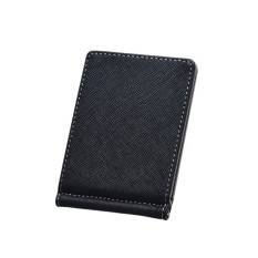 Mens Leather Silver Money Clip Slim Wallets Black ID Credit Card Holder Brown