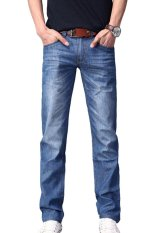Mens Long Lightweight Straight Slim Fit Jeans Cotton Casual Blue Jeans Trousers Blue