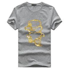 Men's Lycra Cotton Short-sleeves O-neck Printing T-shirt (Grey)