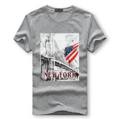 Men's Lycra Cotton Short-sleeves O-neck T-shirt Fun Printing American Flag (Grey)