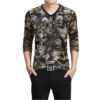 Men's New Autumn and Winter 3D Printing Velvet Slim V-neck Long-sleeved T-shirt