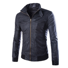 Men's new autumn and winter in Europe and America leather simple leather jacket lapel black - Intl