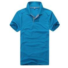 Men's Short Sleeve T-Shirt Loose Style Polo Shirt (Blue) - Intl