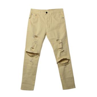 Mens Skinny Straight Slim Elastic Denim Jeans - Intl
