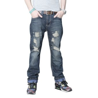 Men's Slim Fit Straight Jeans (Blue)