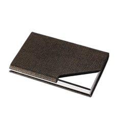 Mens Stainless Steel Pocket Credit ID Card Mini Wallet Holder Pocket Case Box Coffee Golden - intl