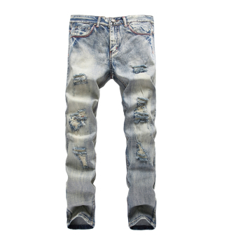 Mens Straight Hole Skinny Fit Denim Jeans (Grey) - Intl