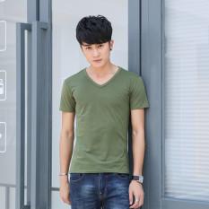 Men's Summer Wear V-neck Men's Short Sleeve T-shirt Cotton Pure Color Male Shirts - Intl