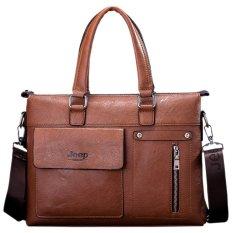 Men's Tote Genuine Cowhide Leather Handbag Business Portable Bag Crossbody Bag Briefcase (Brown)