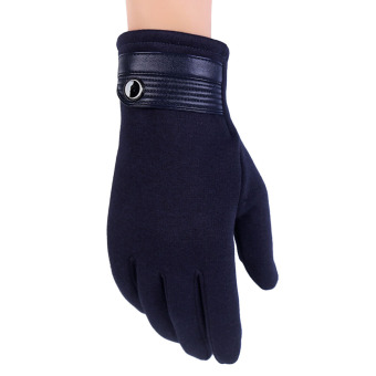 Men's Winter Windproof Touchscreen Gloves for Smart Phone & Tablet (Navy) - intl