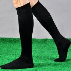 Mens Womens Outdoor Sport Basketball Football Rugby Knee High Plain Long Socks(Black)