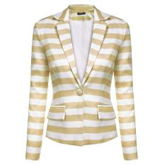 MG Lapel Neck Striped Waist Seam Basic Jacket Blazer Coat (Blue&White) - Intl