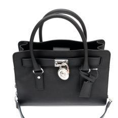 Michael Kors Hamilton East West Medium Satchel (Black-Silver Hardware)