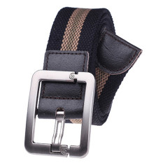 Military Style Unisex Single Grommet Adjustable Canvas Belt Web Belt Woven Belt Black Stripes 115cm- Intl