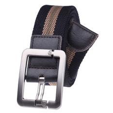 Military Style Unisex Single Grommet Adjustable Canvas Belt Web Belt Woven Belt Black Stripes 115cm - Intl