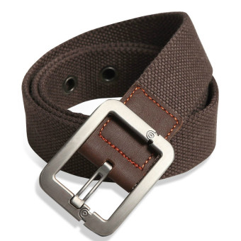 Military Style Unisex Single Grommet Adjustable Canvas Belt Web Belt Woven Belt Coffee 115cm - Intl