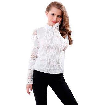 Model blus wanita musim semi musim gugur potongan baju lengan panjang putih berenda yang OL pake