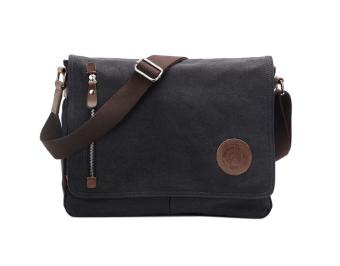 Moob Men's Vintage Canvas Schoolbag Shoulder Messenger Bag, Black - Intl