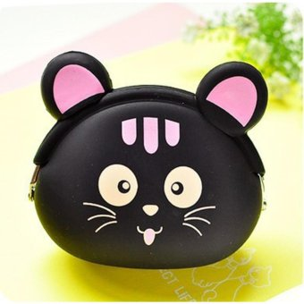 Moonar Cute Animal Patterns Silicone Coin Bag Change Money Wallet (Black Cat) - intl