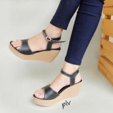 Moya Sepatu Wanita Wedges Ankle Strap CY07 - Hitam