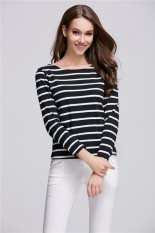 MSSHE Summer New Design Best Selling Women Striped T Shirt (Black)