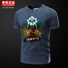 Mucunsanshe Musim Panas Menonton Permainan Lengan Pendek T-shirt (Biru-zenyatta) (Biru-zenyatta)