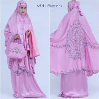 Mukena Bordir Behel Tiffany Cantiq Terbaru 2017 Soft Pink .