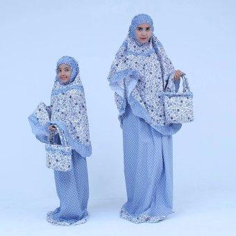 Mukena Cantik Katun Jepang Untuk Couple Ibu Anak - Biru Langit