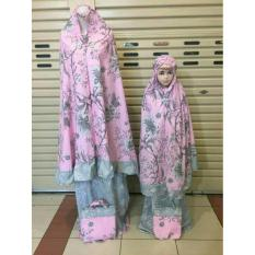 Mukena ibu dan anak katun jepang flower pink