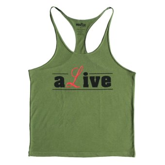 640c1308b9413 Muscle Alive Gym Tank Top Men Bodybuilding Vest Clothing Muscle Sleeveless  Shirt (Army Green)