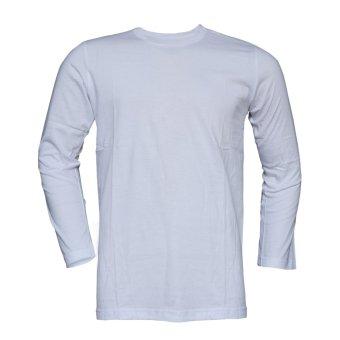 Muscle Fit Kaos Polos T-shirt O-neck Lengan Panjang Cotton - Putih