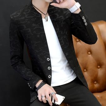 Musim gugur dan musim dingin Korea Fashion Style pria kasual stand-up kerah Slim kemeja