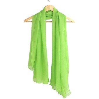 Muslim Artificial Silk Scarf Shawl (Fluorescent green)