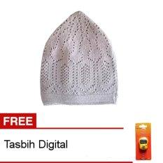 Nabawi Peci Rajut Mercan - Abu-Abu + Gratis Tasbih Digital 1 Pcs
