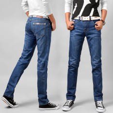 New 2016 Jean Mens Pants Men's Jeans Men Thin Trousers Mid Waist Straight Business Casual Style Size:28-40 -light Blue - Intl