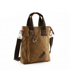 New 2017 Men's Multi-pocket Large Capability Canvas Messenger Bags Outdoor Leisure Zipper Shoulder Bag Portable Business Tote Bag(Coffee) - Intl
