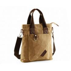 New 2017 Men's Multi-pocket Large Capability Canvas Messenger Bags Outdoor Leisure Zipper Shoulder Bag Portable Business Tote Bag(Khaki) - Intl