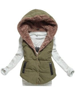 New Arrival Spring Autumn Winter Sleeveless Women's Hooded Vest Coat Lady Fashion Casual Waistcoat-army Green-M - Intl