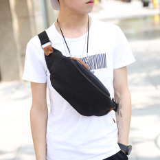 New Canvas Waist Bag Chest Bag Korean Men Chest Bag Men's Handbag Small Bag Fashion Waist Bag Chest Bag -Black